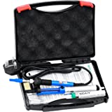 [UPDATE] 6-in-1 Electric Soldering Iron Kit with Cleaning Sponge,SOAIY® 60W Adjustable Temperature Welding Soldering Iron with Tool Carry Case,5pcs Different Soldering Tips,Soldering Sucker, Solder Wire,Stand