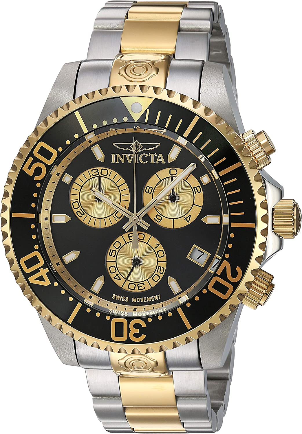 Invicta Men s Pro Diver Quartz Diving Watch with Stainless-Steel Strap, Two Tone, 21.5 Model 26850