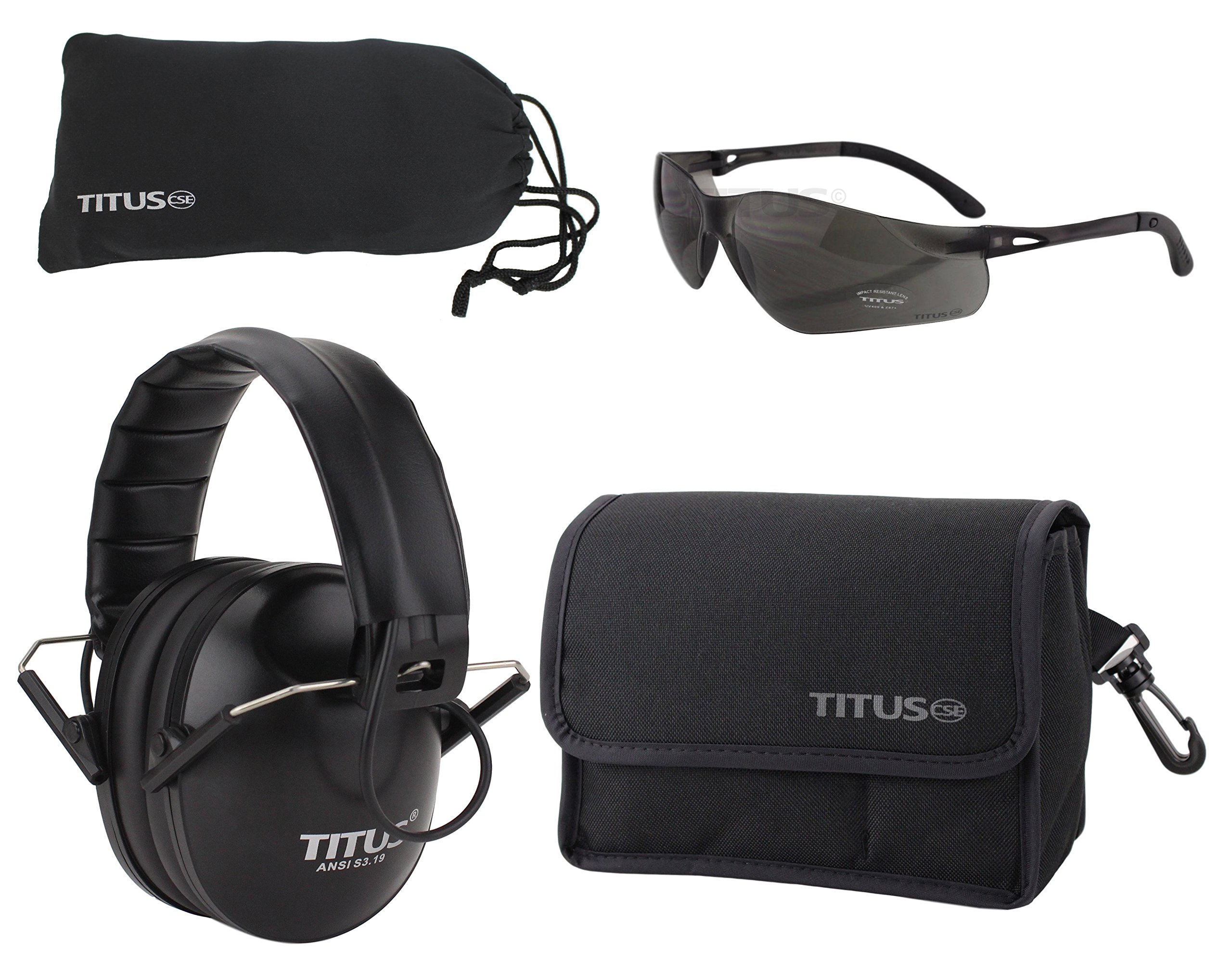 TITUS Top Combos: Safety Earmuffs & Glasses (Black Electronic - Slim, G3 Smoke Tint Z87+ High-Velocity)