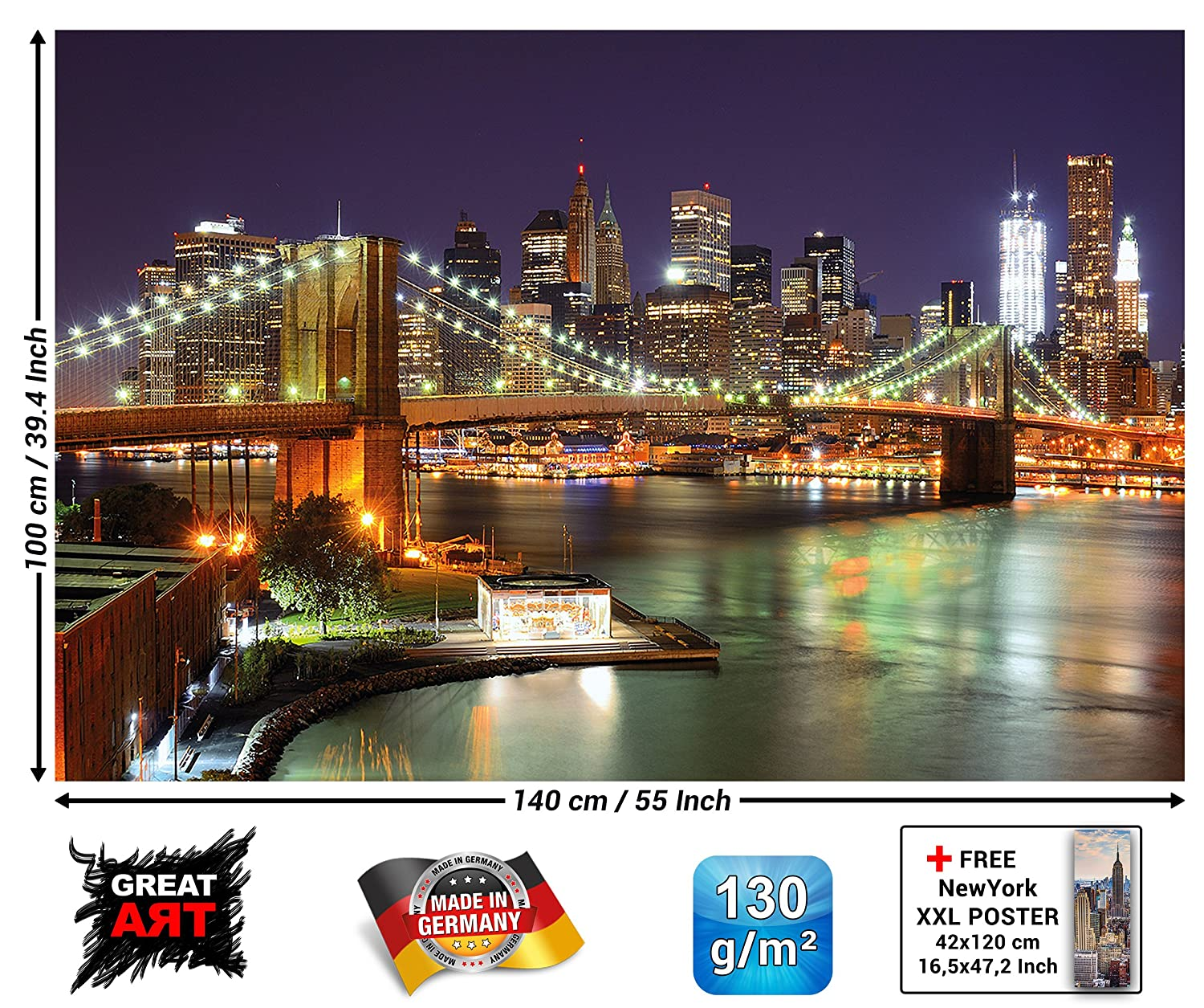 poster new york xxl great trendy amazing finest empire poster new york brooklyn bridge door. Black Bedroom Furniture Sets. Home Design Ideas