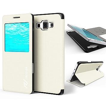 Urcover® Funda Compatible con Samsung Galaxy A3 2015 S-View Carcasa con Tapa Libro Funcion Soporte, Flip Case Delgada protección Pantalla con Ventana ...