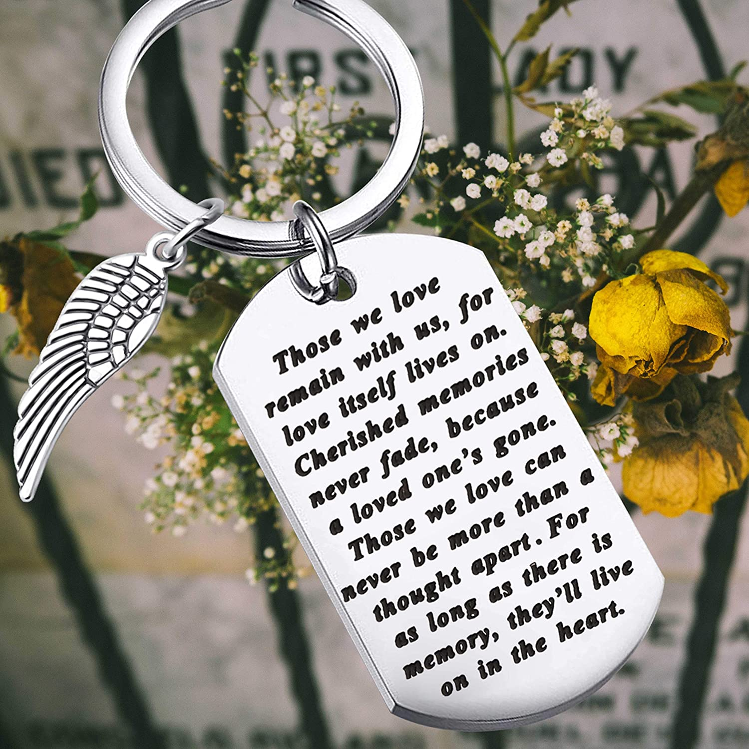 Memory Keychain Remembrance Gift Loss Jewelry in Memory of Dad Mom Loved One Angel Wing Charm Those We Love Remain with Us for Love Itself Lives on