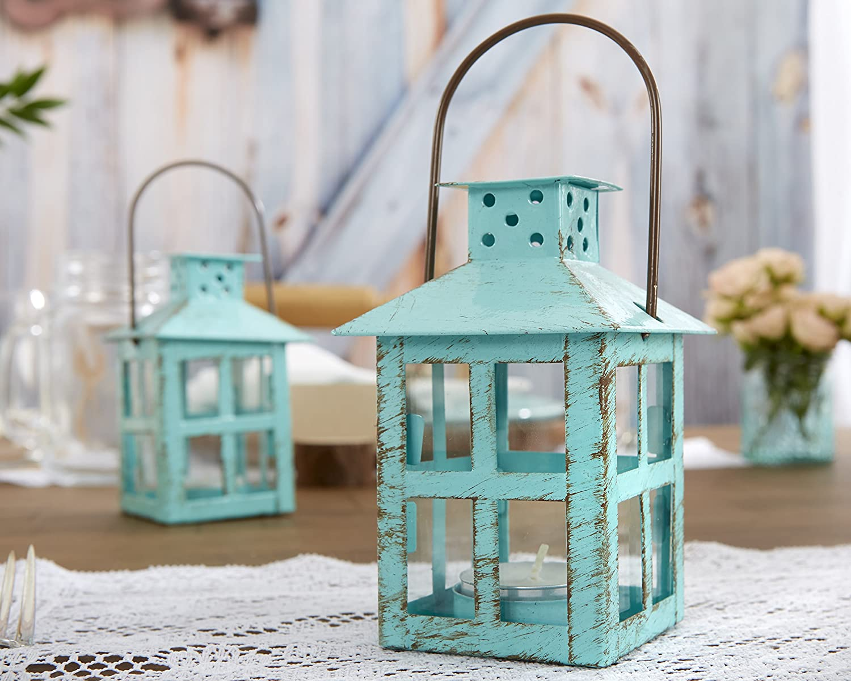 Kate Aspen, Distressed Metal Vintage Decorative Mini Lantern, Centerpiece, Party Favor