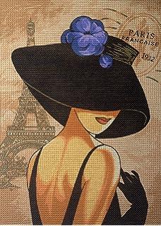 Hudemas Needlepoint Kit Lady with hat 9.8x13.8 25x35cm Printed Canvas cod.607