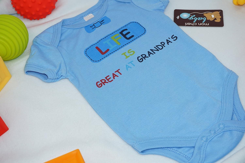 c27c4a237 Amazon.com  Mon Cheri Baby Life Is Great AT Grandpa s Funny Baby Boy ...