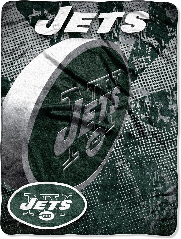 NFL New York Jets 46-Inch-by-60-Inch Micro-Raschel Blanket Grunge Design