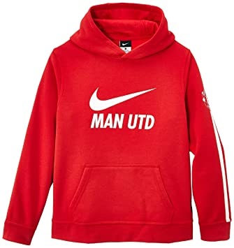 92996ba6200 Nike Manchester United Boys  Hoodie Brushed Fleece Red Diablo Red White Size XS.  Roll over image to zoom in
