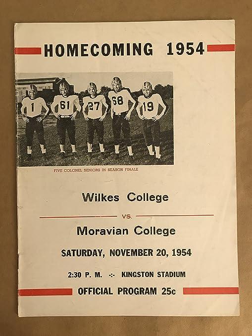 Amazon Com Wilkes Moravian College Football Program 1954 Ex