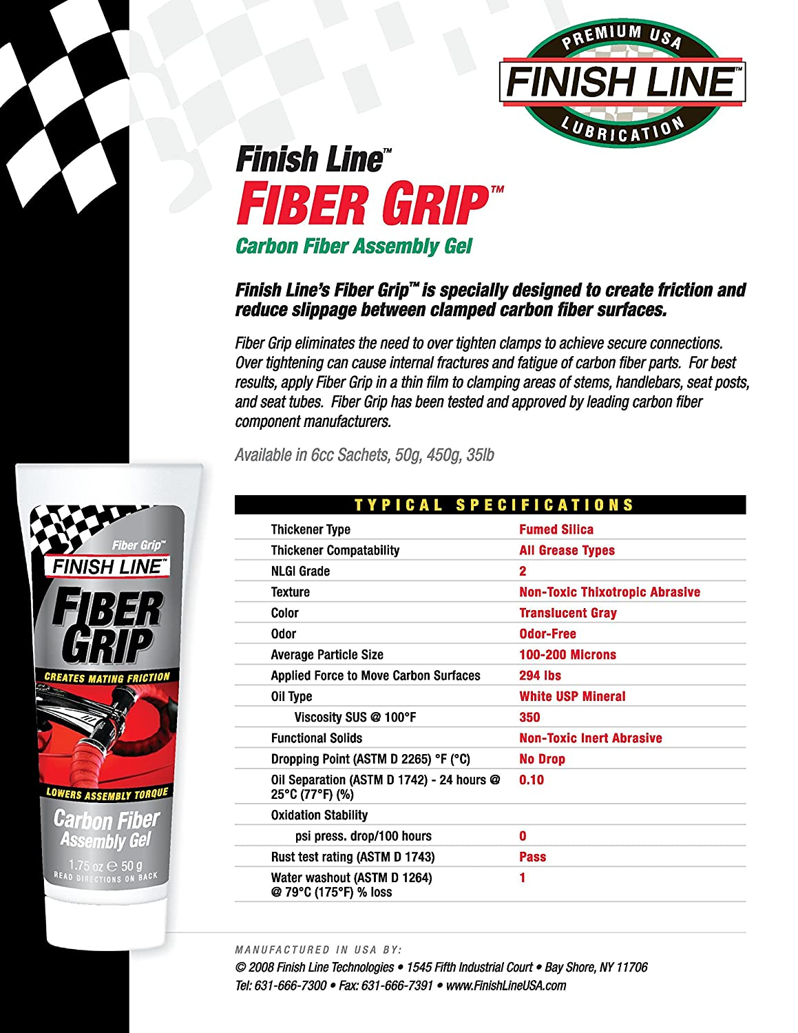 Finish Line Free Shipping Trick >> Finish Line Fiber Grip Carbon Fiber Bicycle Assembly Gel