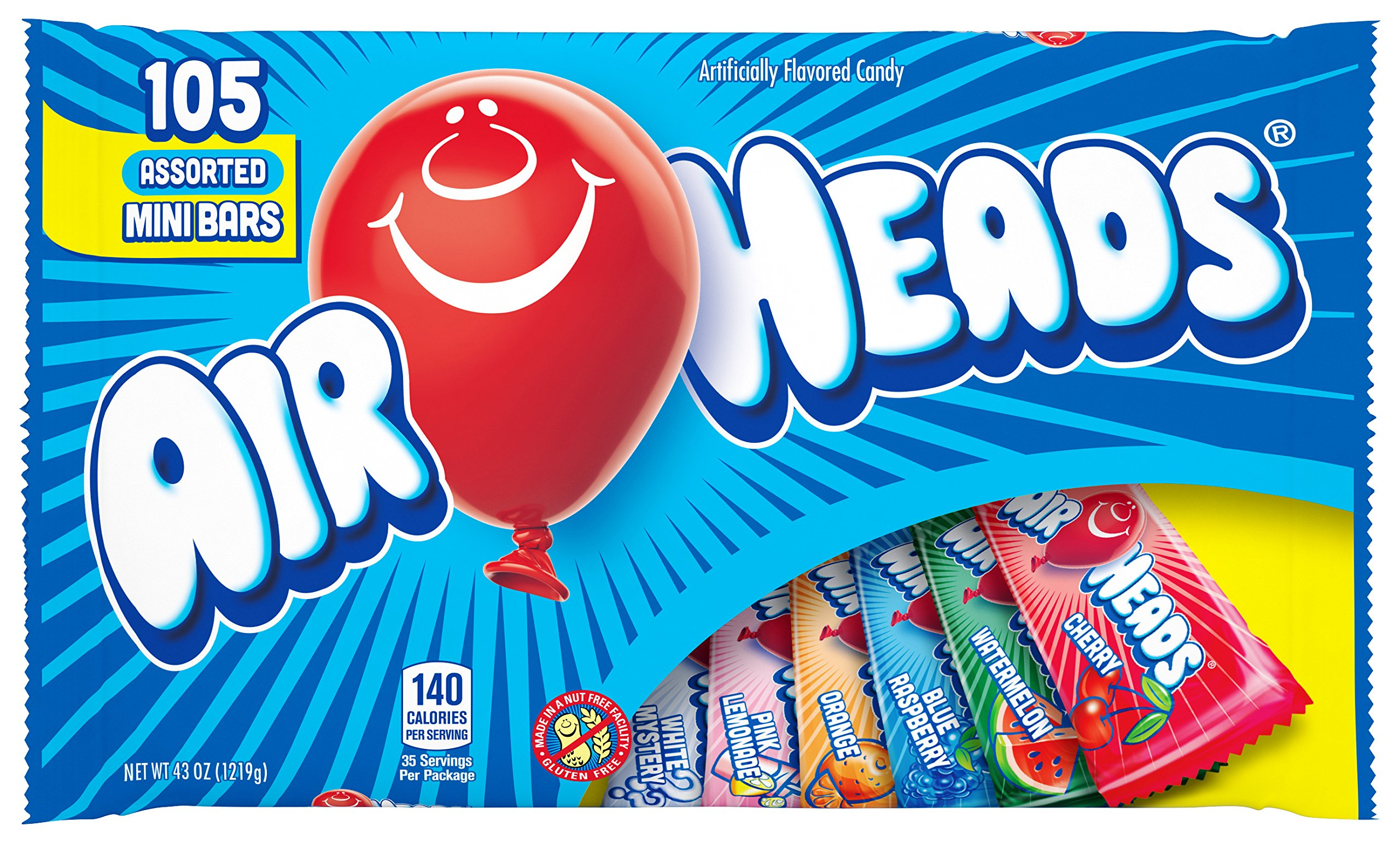 AirHeads Candy Variety Bag, Individually Wrapped Assorted Fruit Mini Bars, 43 oz (Bulk Pack of 8) by Airheads