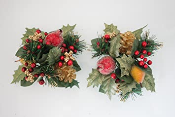 Christmas Candle Rings.Christmas Candle Rings Set Of 2 Various Designs Frosted Gold Fruit Holly