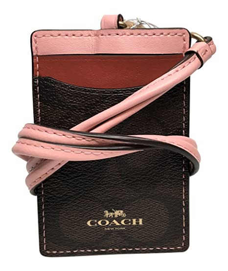 cc2e6598 Coach Color Block Lanyard ID Holder Signature Pink Red 3922