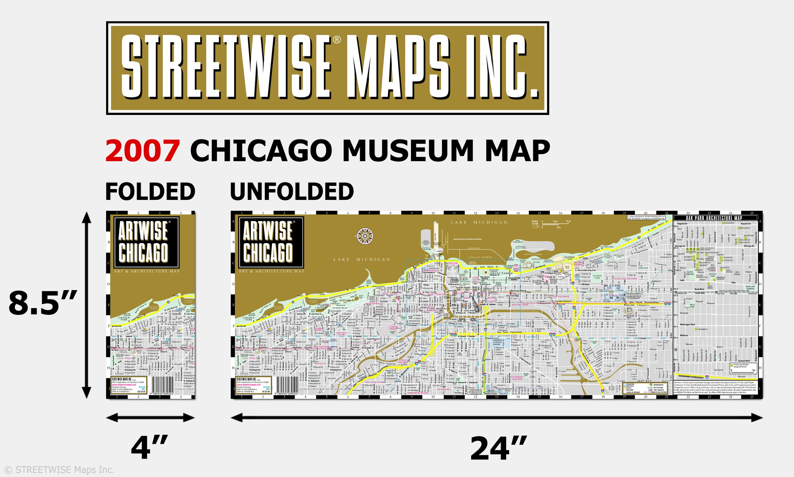 Artwise Chicago Museum Map - Laminated Museum Map of Chicago ... on