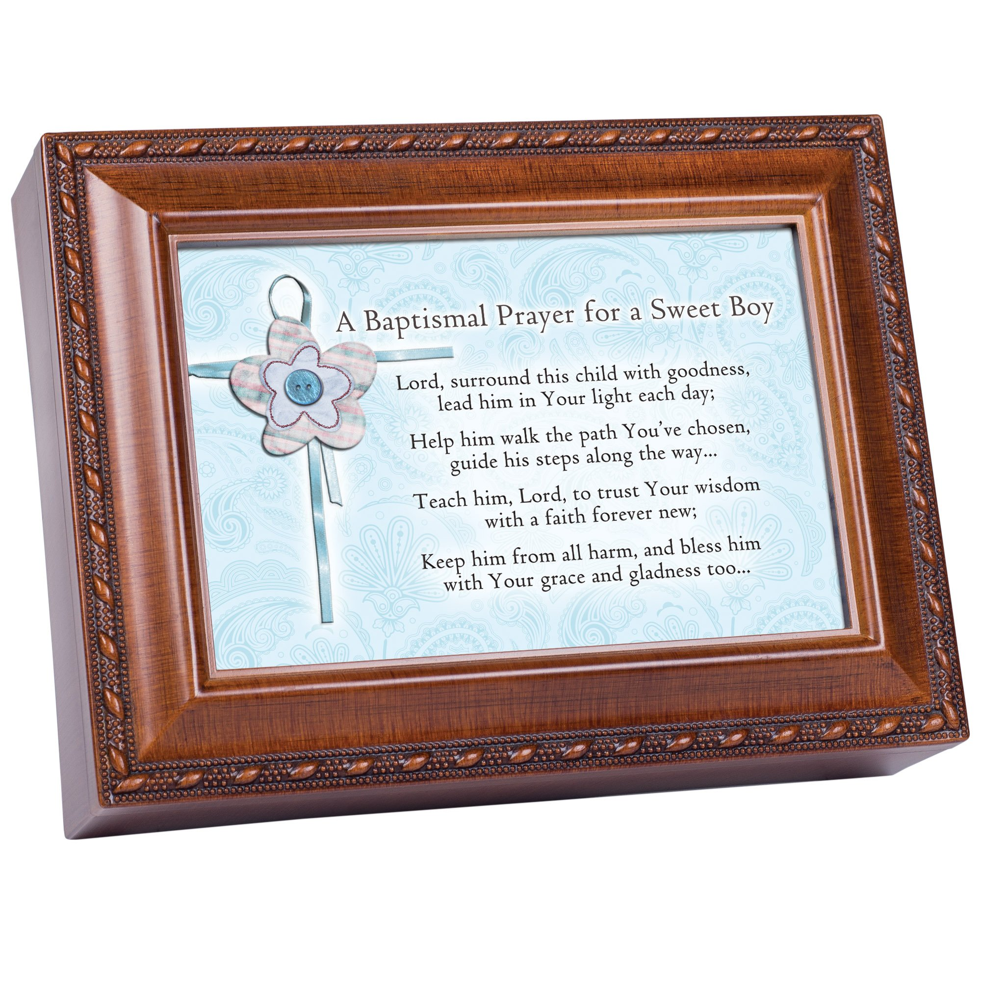 Cottage Garden Baptized In The Name Woodgrain Music Box/Jewelry Box Plays Jesus Loves Me