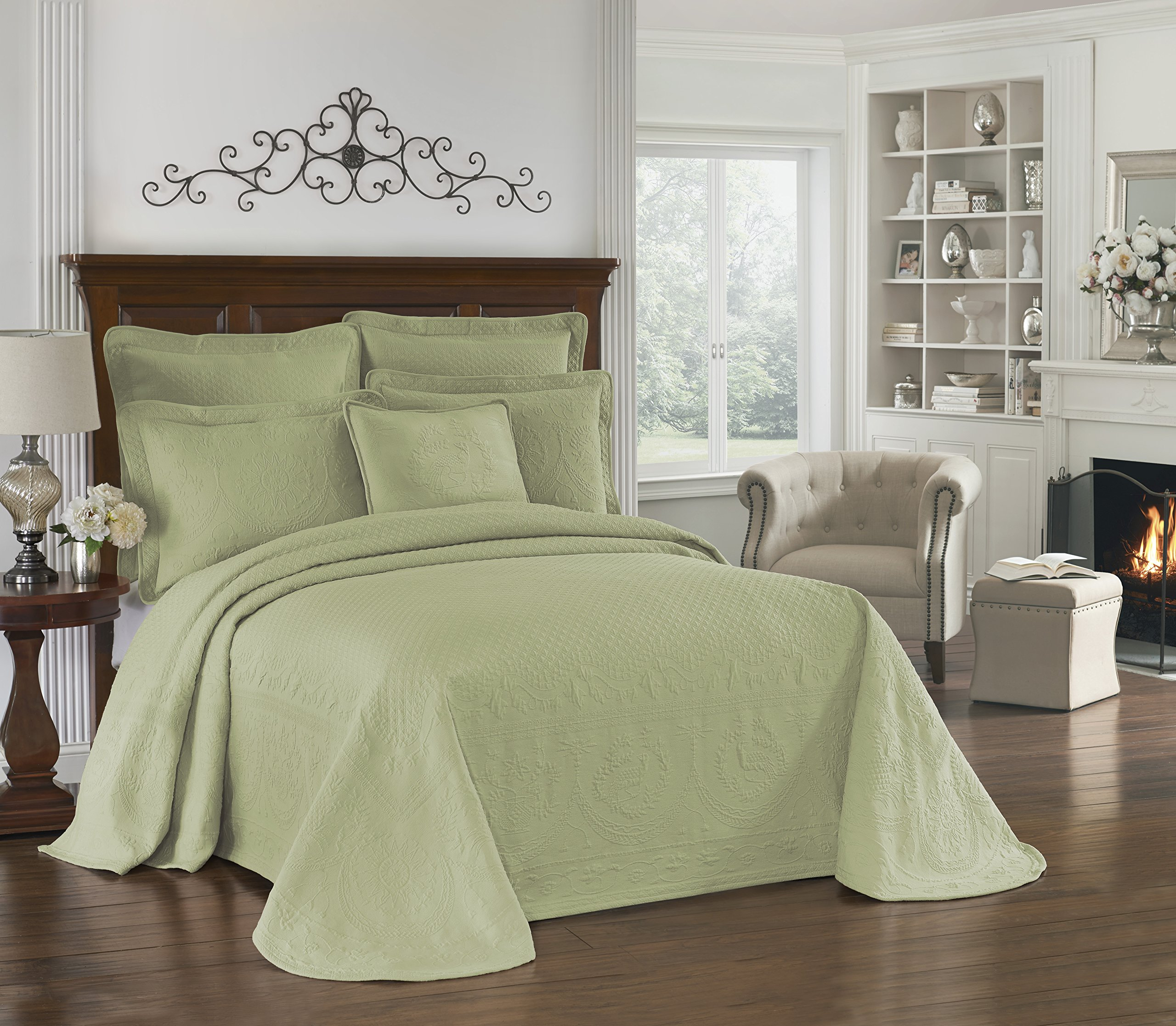Historic Charleston Collection King Charles 13989BEDDKNGSAG Matelasse Bedspread, King, Sage by Historic Charleston Collection
