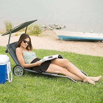 dfcabb919fc699 Relaxdays Chaise Longue à roulettes Transat Pliable Plage Jardin Relaxation  avec Pare-Soleil Dossier inclinable jusqu à 120 kg, Anthracite  Amazon.fr   ...