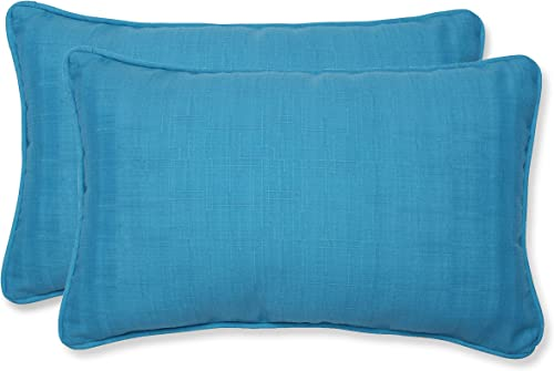 Pillow Perfect Outdoor Indoor Veranda Turquoise Lumbar Pillows, 11.5 x 18.5 , Blue, 2 Pack