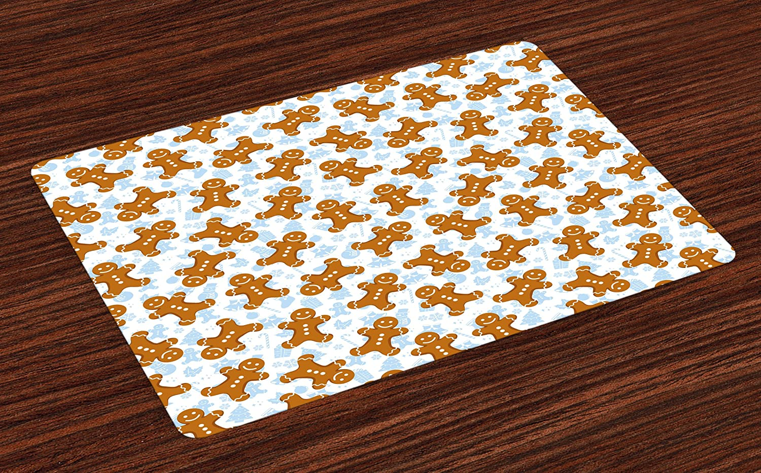 Ambesonne Gingerbread Man Place Mats Set of 4, Traditional Christmas Icons Cookie Pattern Festive Tile, Washable Fabric Placemats for Dining Room Kitchen Table Decor, Pale Caramel Baby Blue White