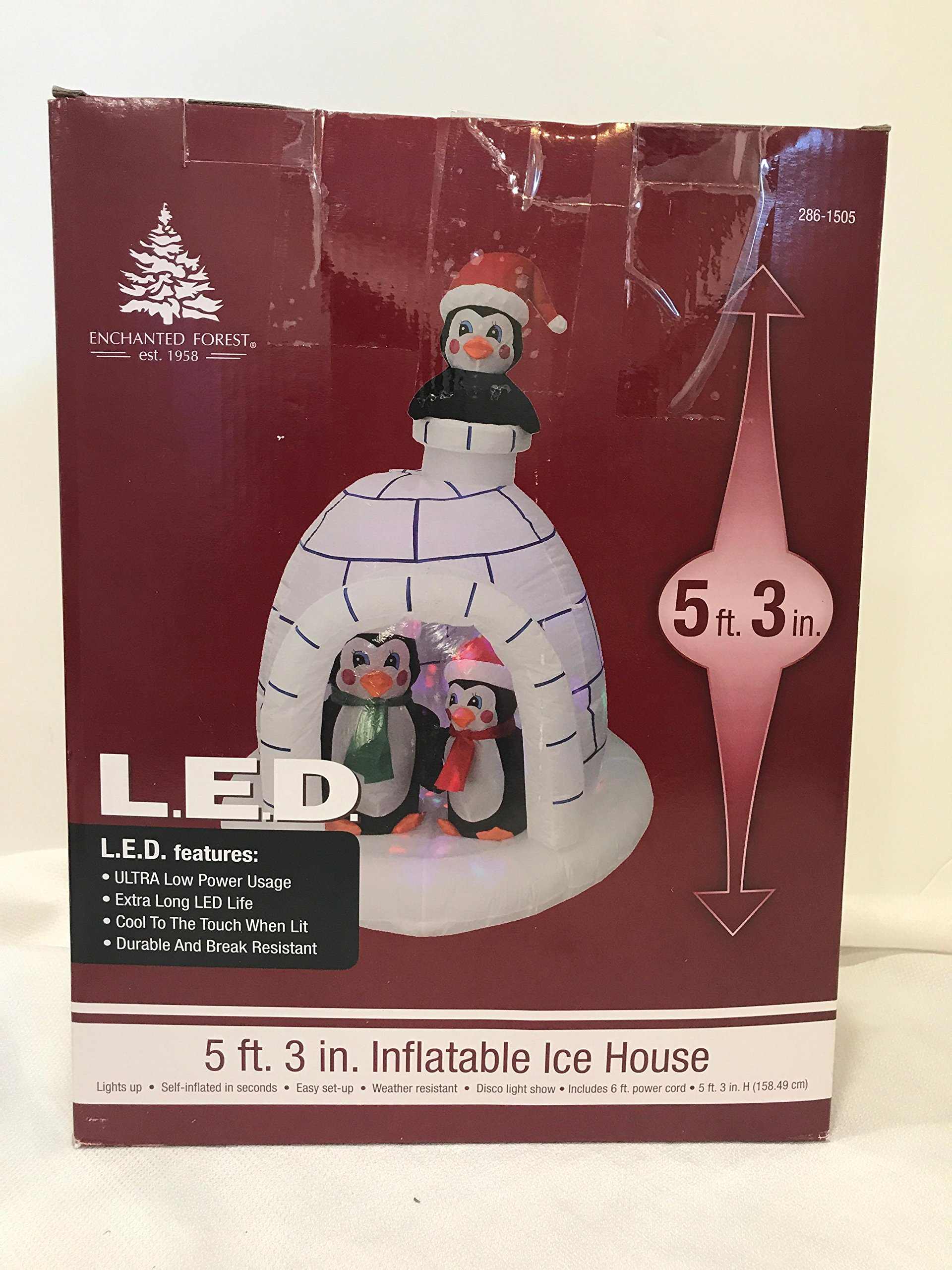 Inflatable Ice House Igloo with Penguins 5' 3'' tall LED