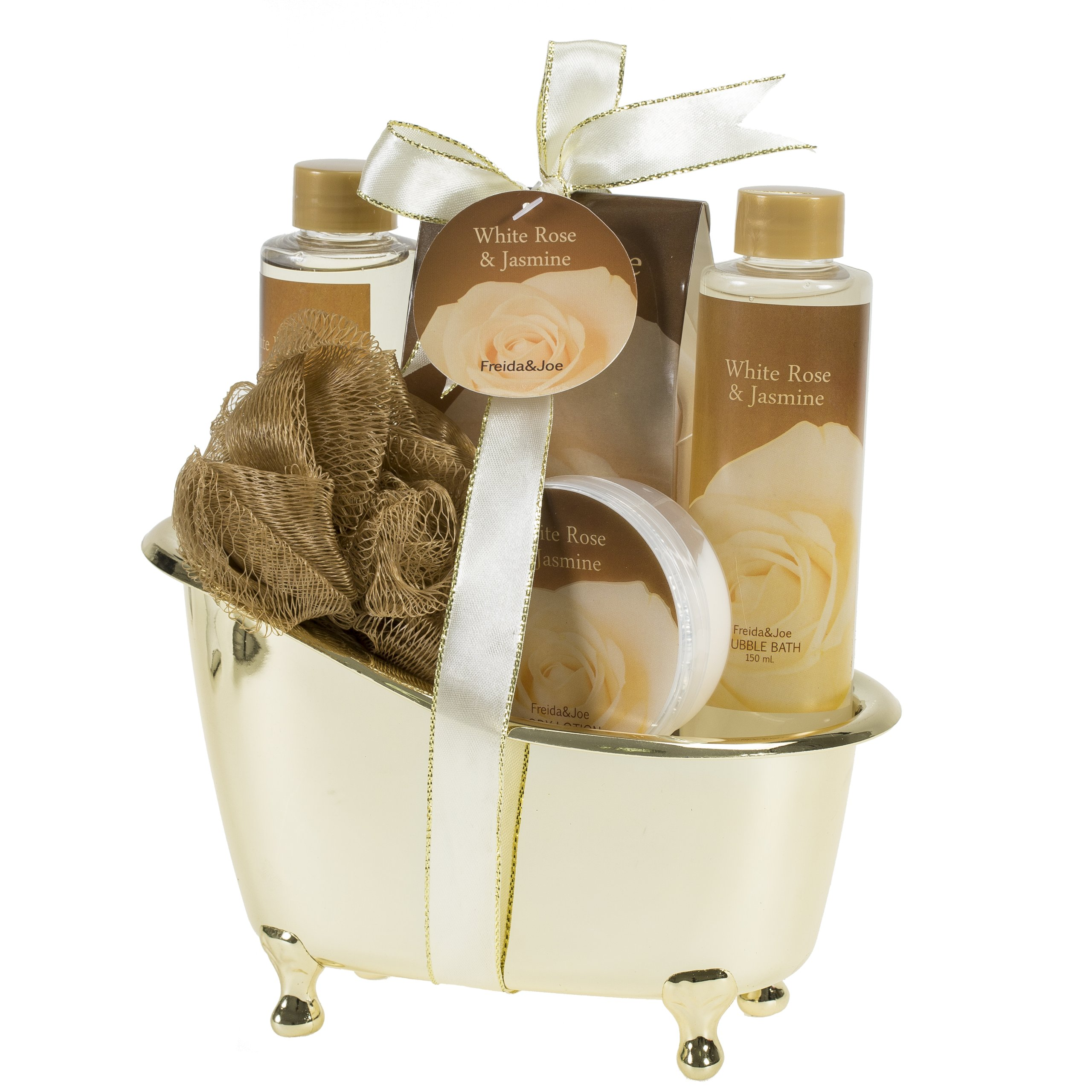 Freida and Joe, Luxurious and Elegant Spa Gift Set Basket for Women, Deluxe White Rose Jasmine Gold Tub, Hydrating and Refreshing Bathroom Gel, Bubble Bath, Lotion and Salts