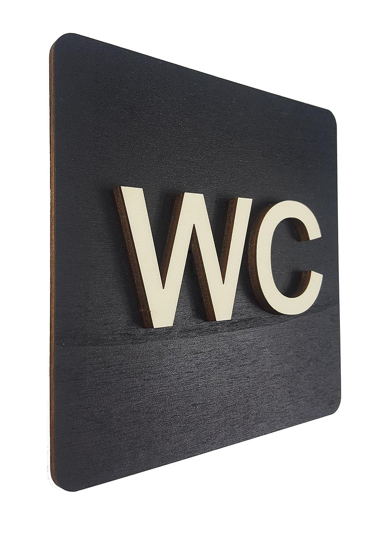 WC – Placa para puerta cartel negro madera de WC Cartel Mujer Hombre pictograma (14 x 14 cm), madera, negro, 14 x 14 cm