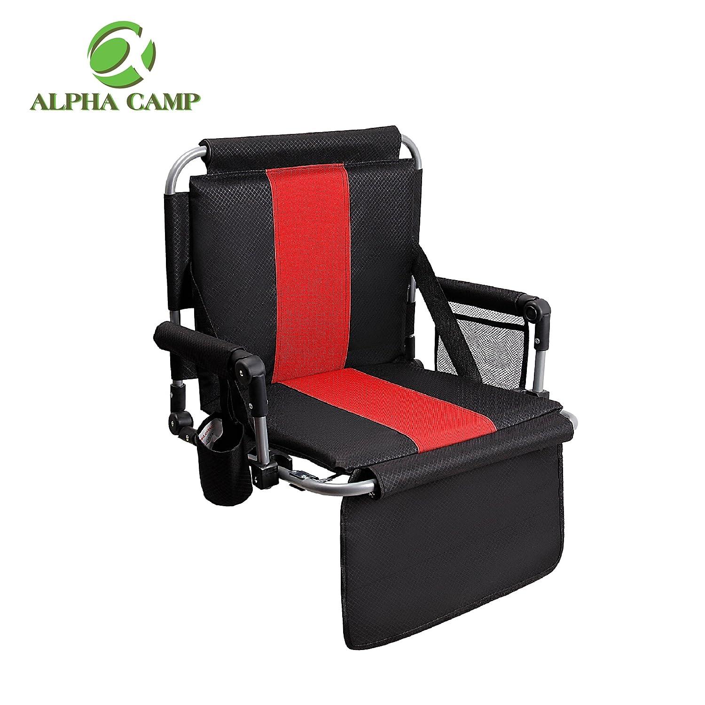アルファCamp Stadium Seat Chair with Arms and Side Pocke B07879C1S3  ブラック&レッド