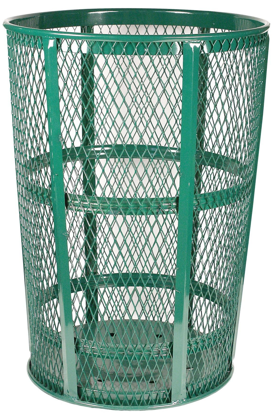 Witt Industries EXP-52GN Steel 48-Gallon Outdoor Waste Receptacle, Round, 23'' Diameter x 33'' Height, Green