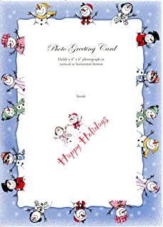 "product image for Holiday Photo Note Cards for 4"" x 6"" image 24 Pack with Envelopes (Snowmen Fun)"