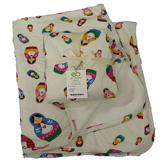 Manta para bebé 100% de algodón bio - Manta 4 colores Gateo GOTS Baby MANTITAS Forro Polar 85 x 100 cm Talla:85x100cm Matrjoschka: Amazon.es: Bebé