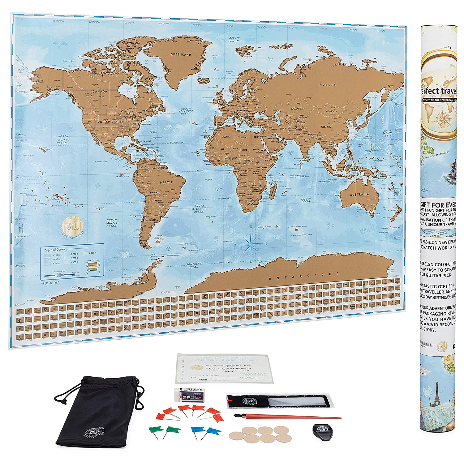 Great Landings Large Scratch Off Map of The World with Country Flags, Premium Scratcher, and Accessories is a Great Gift for Travel Enthusiasts; Wall Art Travel Map Poster; 32 inches X 24 inches