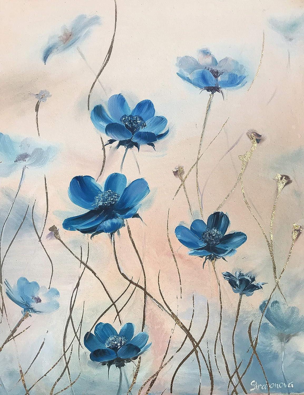 Amazon Com Original Oil Painting Blue Flowers Gold Leaf Design