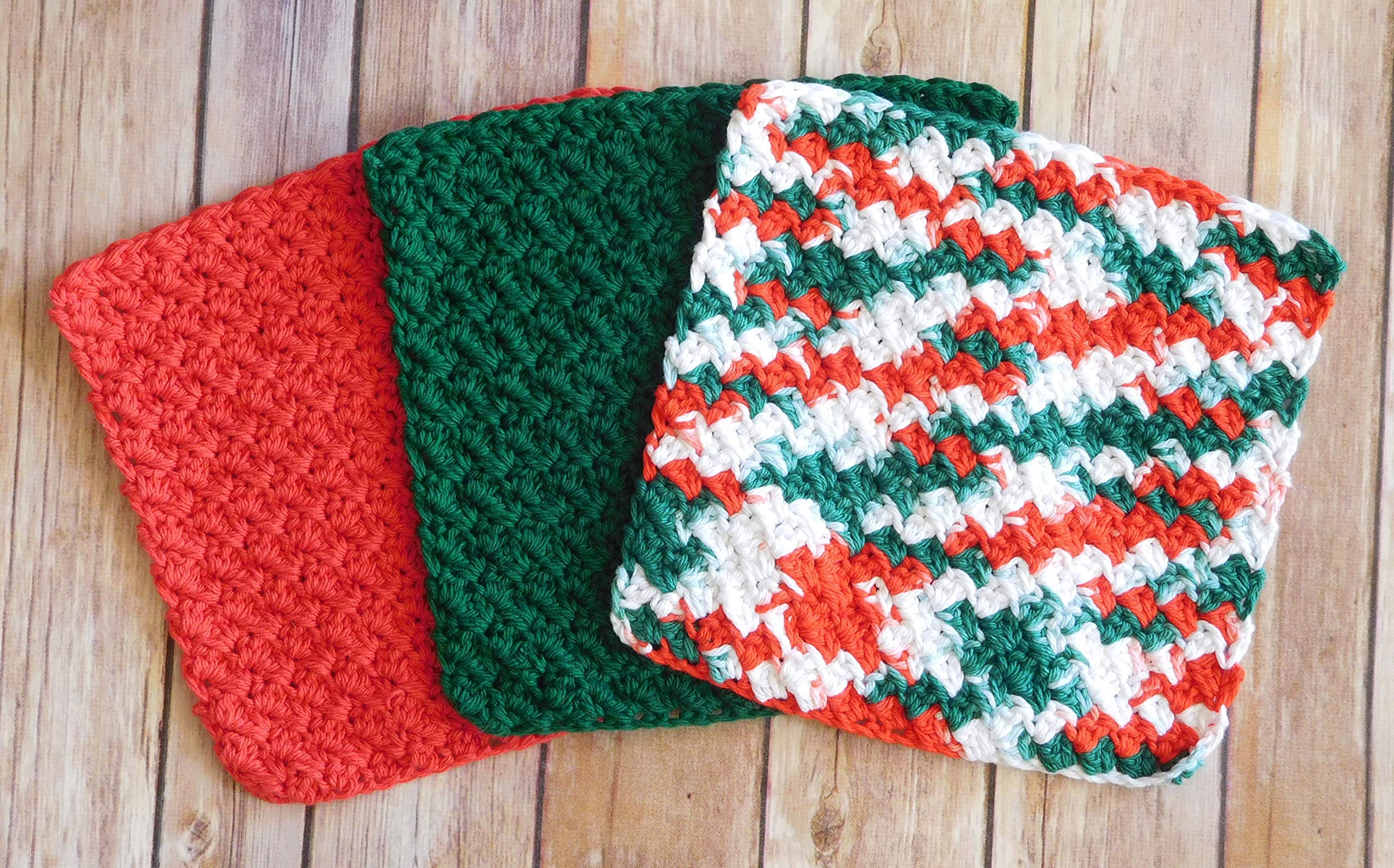 Crochet Kitchen Dishcloths, Set of Three, Red, Green, and Multi - Crochet Christmas Dishcloth