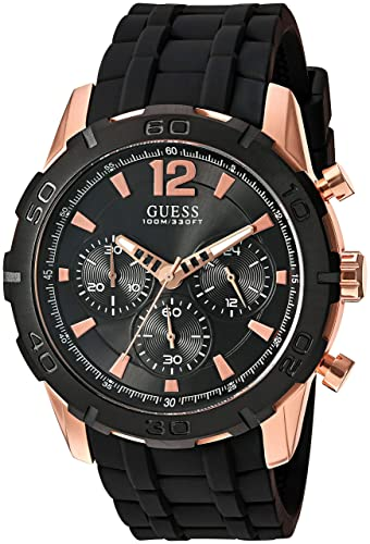 GUESS Mens U0864G2 Sporty Rose-Gold Stainless Steel Multi-Function Watch with Chronograph Dial