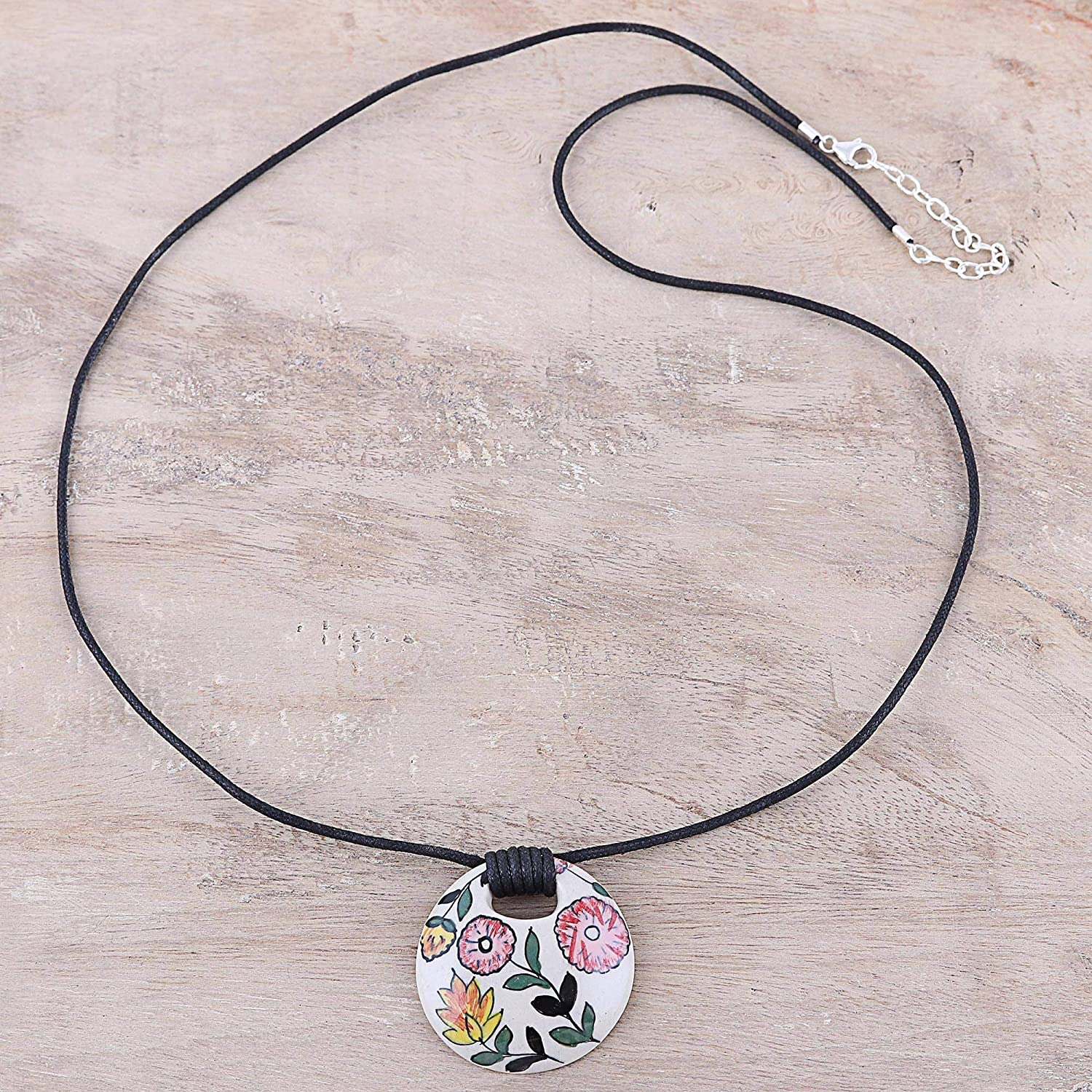 NOVICA .925 Sterling Silver Pendant Necklace 30 Bouquet Toss