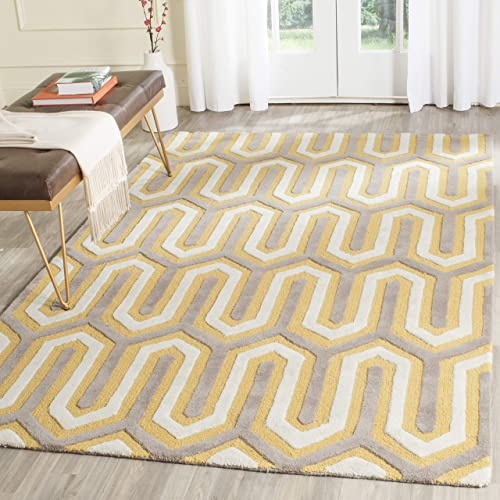 Safavieh Cambridge Collection CAM351Q Handcrafted Moroccan Geometric Gold and Grey Premium Wool Area Rug 8' x 10'