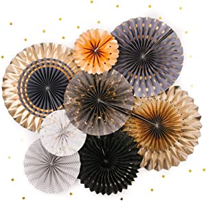 PapaKit Origami Wall Decoration Set (8 Assorted Round Paper Fans) Birthday Party New Year Graduation Events Decor | Creative Art Design Pattern (Charcoal & Gala Blue with Metallic Gold)