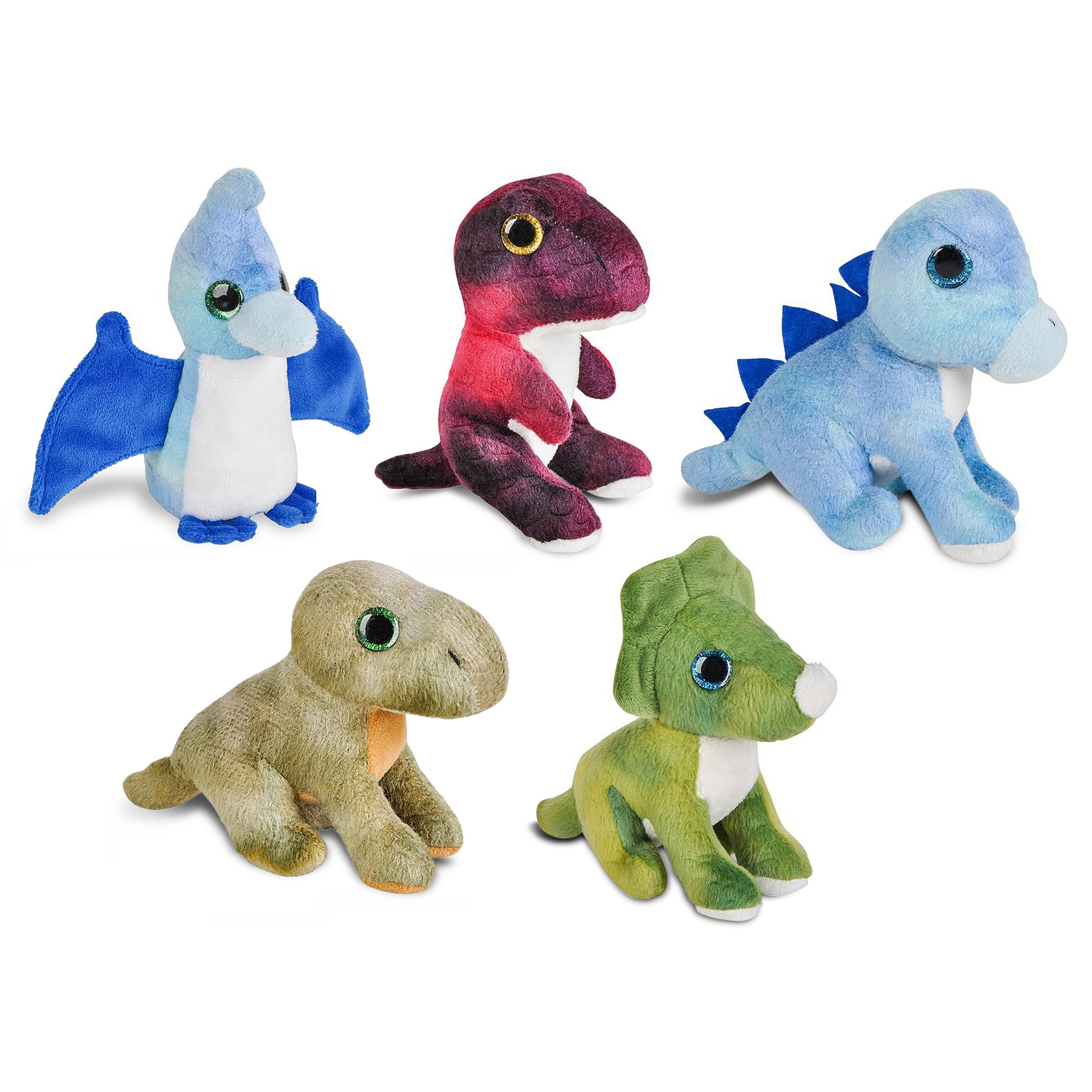 Wildlife Tree Mini Small Stuffed Animals Bundle of Dinosaur Animal Toys or Prehistoric Dino Party Favors for Kids (Pack of 5)