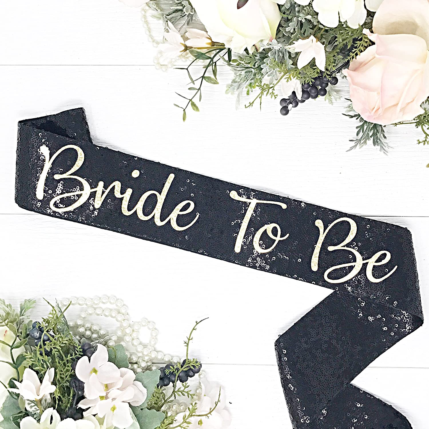 Black Sequin Bachelorette Sash - Black Bridal Sash - Black Sequin