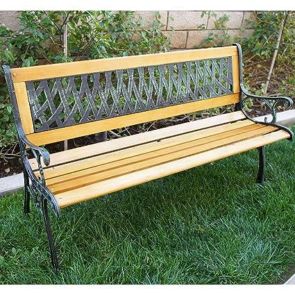 Attrayant Belleze Outdoor Garden Bench Path Porch Patio Seat Cast Iron Hardwood