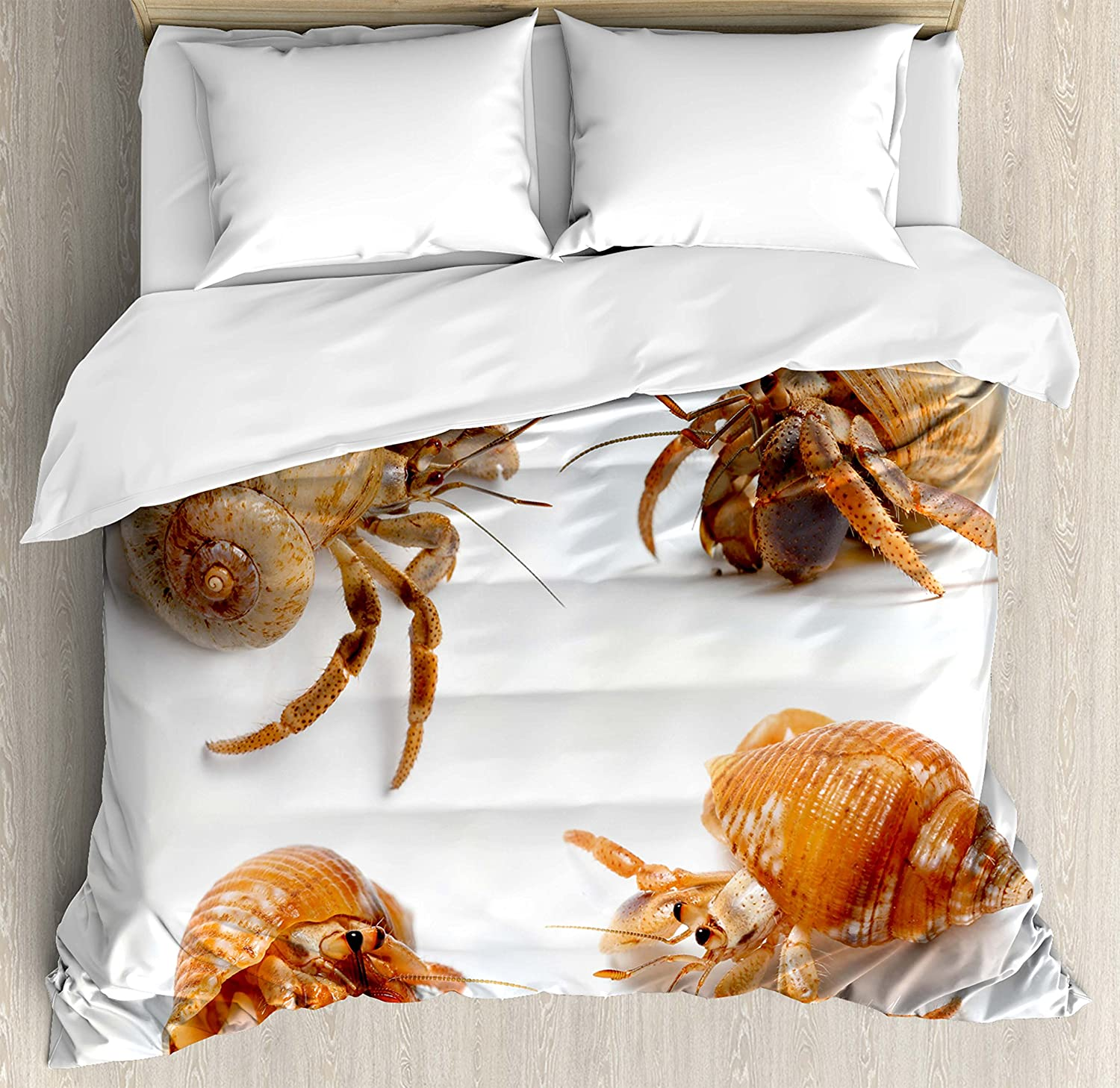 Amazon Com Ambesonne Crabs Duvet Cover Set Sea Animals Theme Hermit Crabs Pattern From Caribbean Seascape Digital Print Decorative 3 Piece Bedding Set With 2 Pillow Shams Queen Size Marigold And White Home