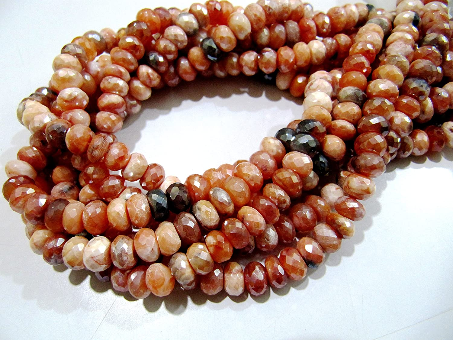 Fire Opal Faceted Rondelle Shape Beads Natural Fire Opal Gemstone Beads SKU#154801 Total 10 Strands of 13 Inches In The Lot 3.5-4mm