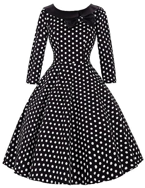 Mujer Vestidos Retro Años 50 Mangas 3/4 de Cóctel Negro S BP41-Negro