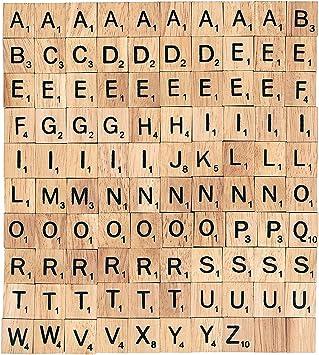 Tonsee – Lote de 100 piezas de madera para Scrabble letras de color negro números para manualidades madera alfabeto: Amazon.es: Juguetes y juegos