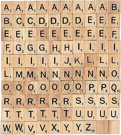 Lufa 100 pcs Madera de letras de Scrabble azulejos letras negras y números Fur el Hecho a mano madera madera tallada (sustituir Cartas: Amazon.es: Hogar