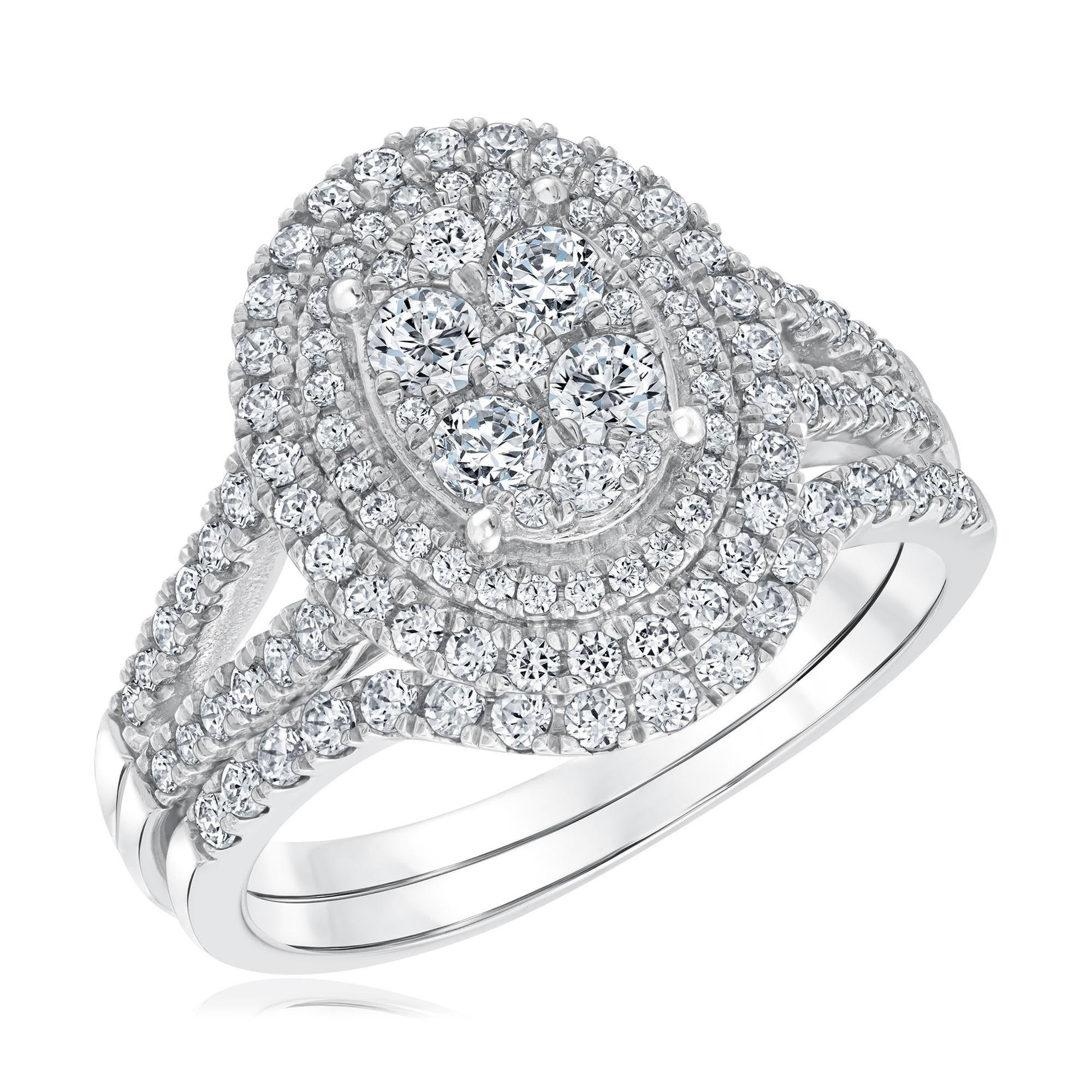 Round Cut Diamond Multi-Top Double Halo Engagement Ring Set 1 1/4ctw - Size 7