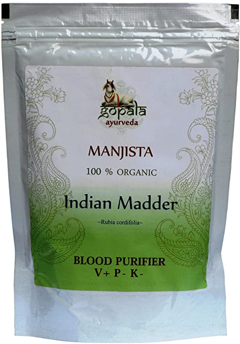 Manjishta (Rubia cordifolia) en polvo BIO, tradicional ayurvédica Planta para purificar la sangre