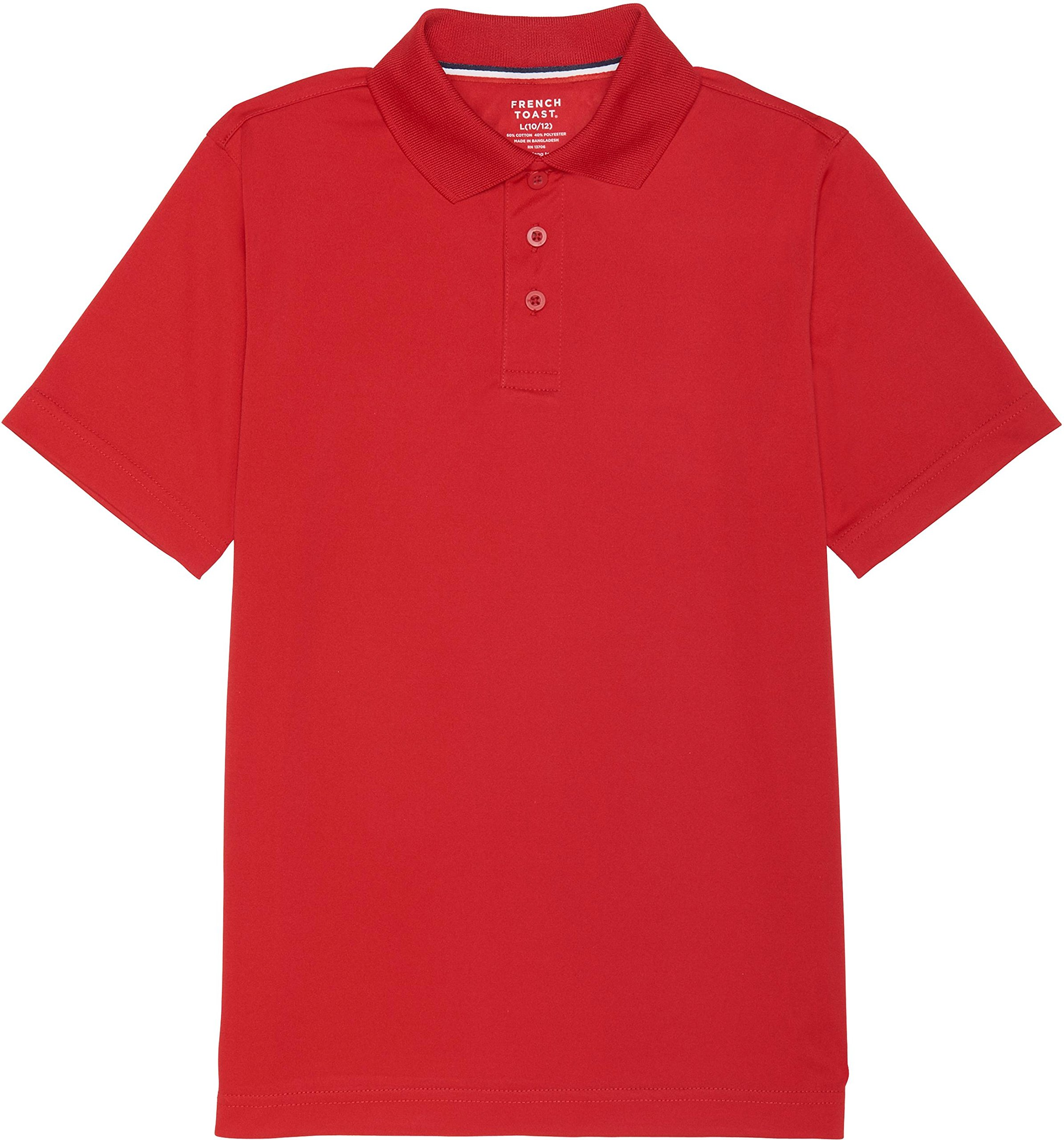 French Toast School Uniform Boys Short Sleeve Sport Polo Shirt, Red, Small (6/7)