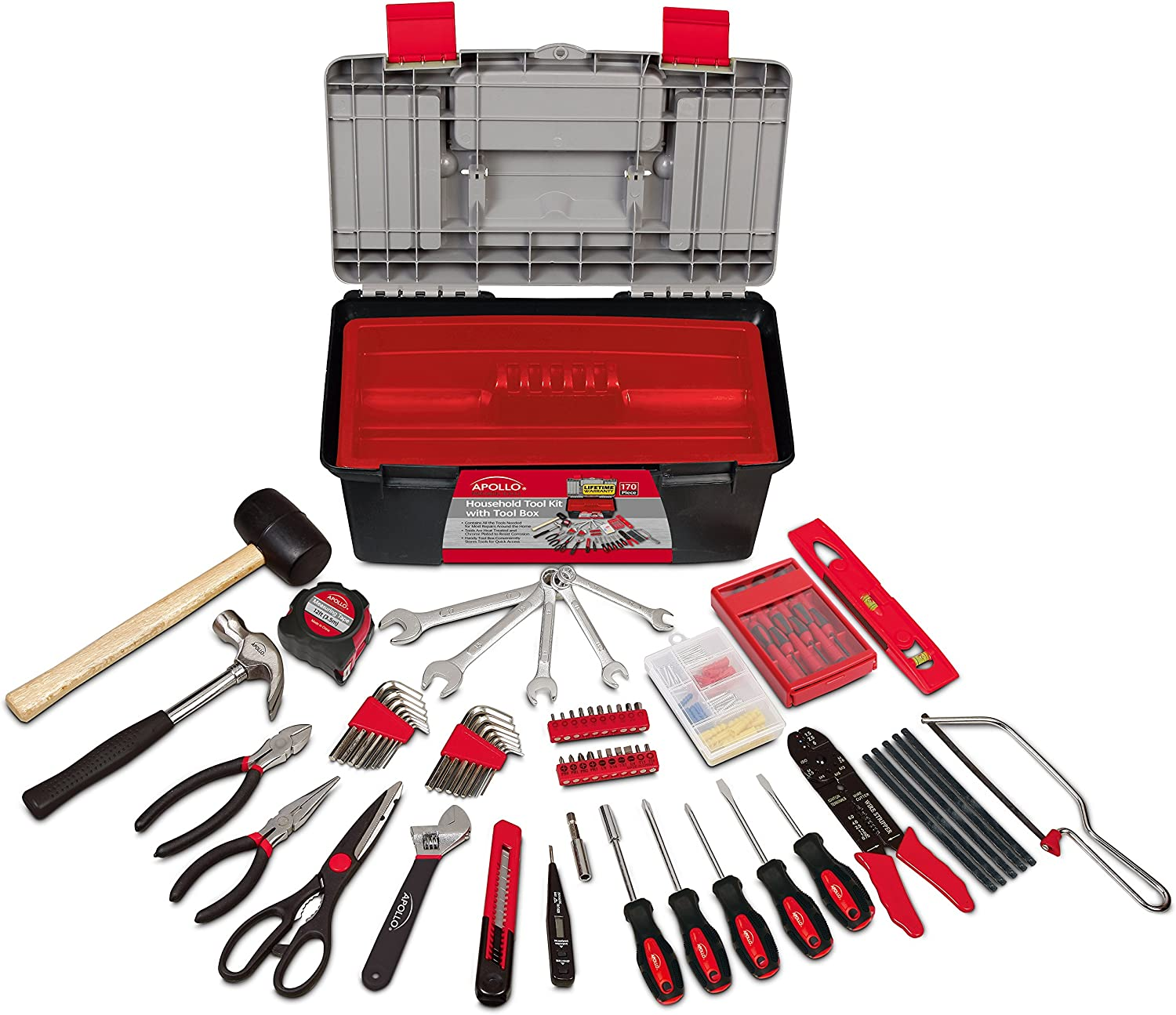 Apollo Tools DT7102 170 Piece Complete Household Tool Kit with Large Heavy Duty Tool Box