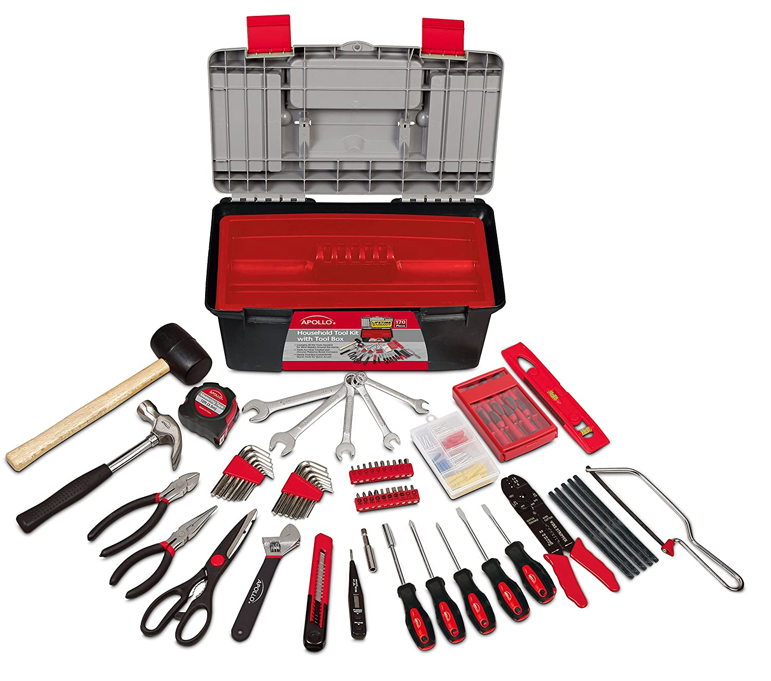 Apollo Precision Tools DT7102 Household Tool Kit with Tool Box, 170 Piece