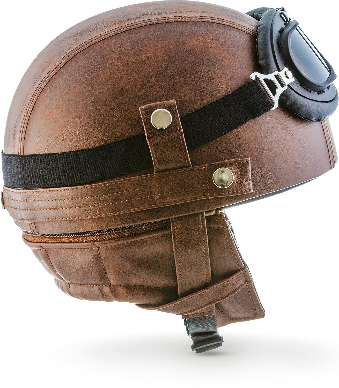 /Casque de moto Vespa Bobber style vintage bol Moto Helmets Set D22/ avec housse en plastique et lunettes de pilote incluses